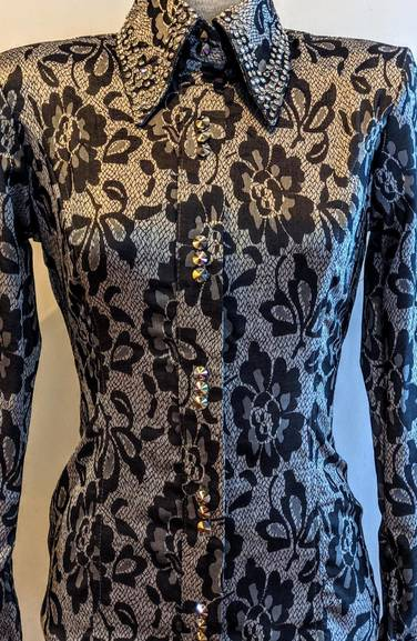 Silver Grey and Black Floral Embellished Hidden Zip Front Stretch Satin Fitted Shirt