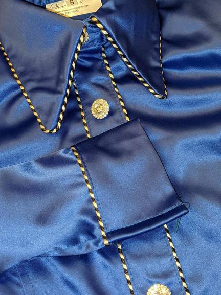 Royal Blue Stretch Satin Hidden Zip Front with Piping