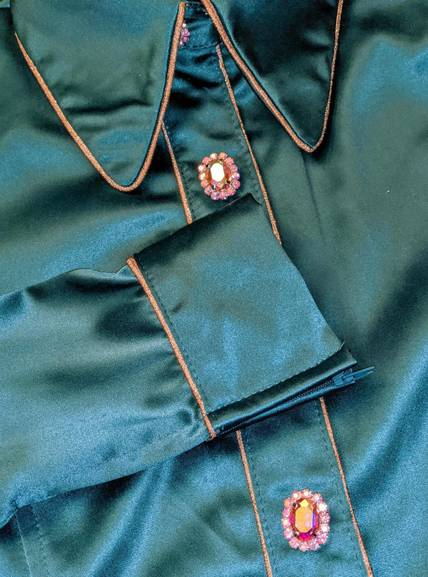 Dark Teal Stretch Satin Hidden Zip Front Fitted Shirt with Piping