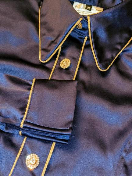 Navy Blue Stretch Satin Hidden Zip Front Fitted Shirt with Piping