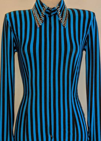 Black and Turquoise Pinstripe Fitted Shirt with Embellished Collar