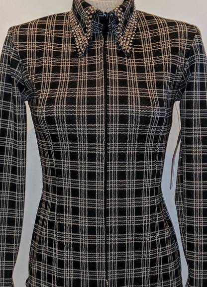 Black and White Plaid with Embellished Collar