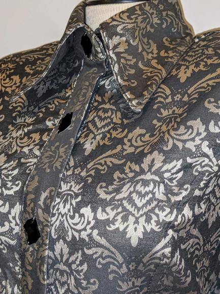 Black and Grey Floral Stretch Satin with Hidden Zipper