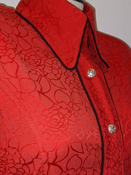Bright Red Stretch Satin Hidden Zipper with Black Piping