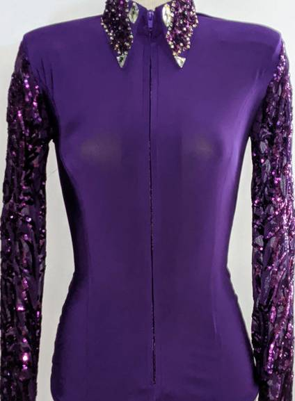 Dark Purple Fitted Shirt with lace Collar and Sleeves
