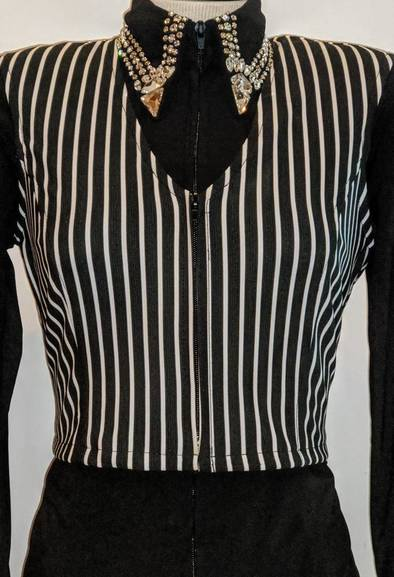 Black and White Pinstripe Bolero Vest