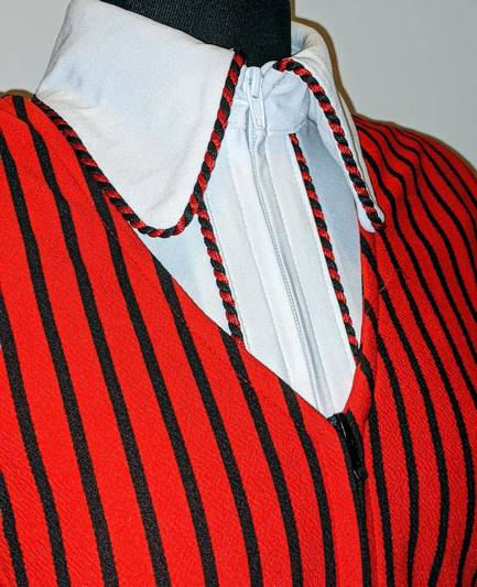 Red and Black Pinstripe Bolero Vest
