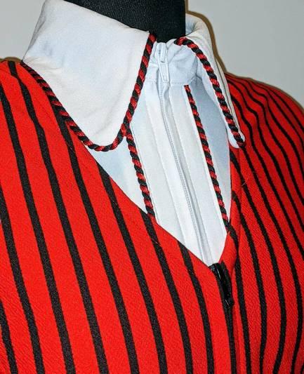 Red and Black Pinstripe Bolero Vest