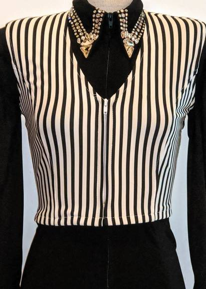 White and Black Pinstripe Bolero Vest