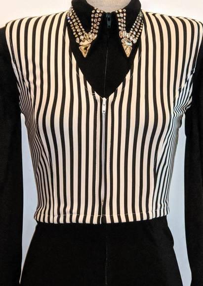 White and Black Pinstripe Bolero Vest