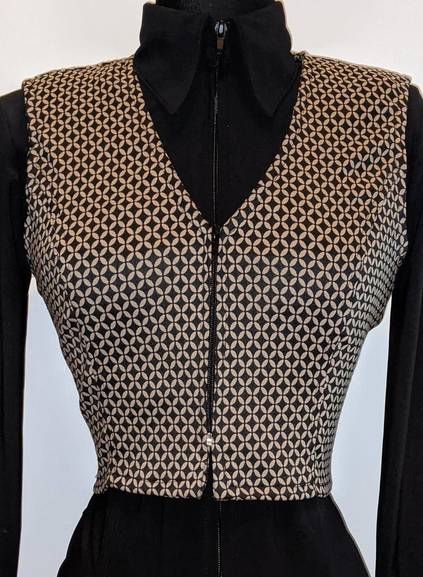 Black and Taupe Diamond Bolero