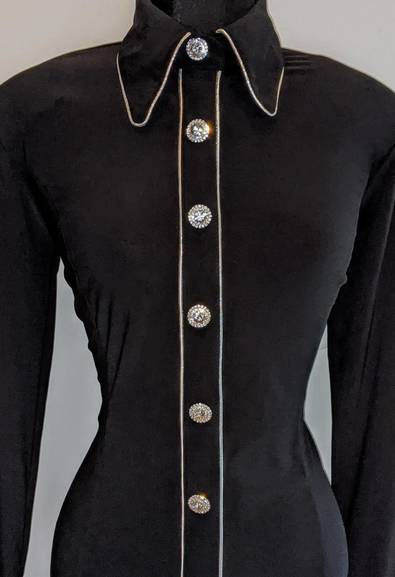 Black Hidden Zip Front Fitted Shirt with Silver Piping