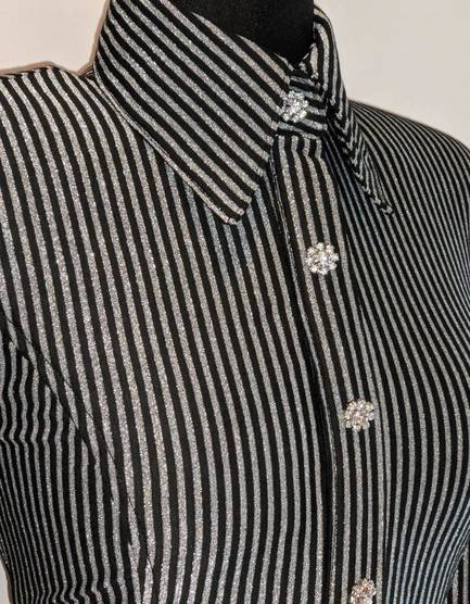 Black and Silver Pinstripe Hidden Zip Front Fitted Shirt