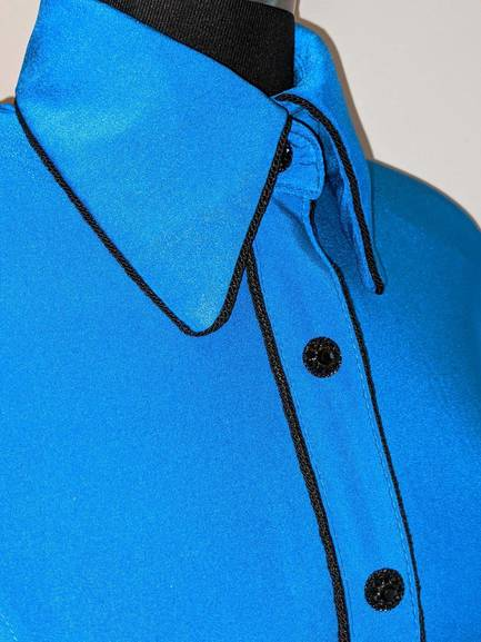 Turquoise Hidden Zip Front Fitted Shirt with Black Piping