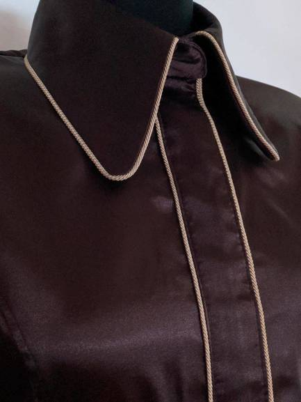 Brown Satin Hidden Zip Front Fitted Shirt with Taupe Piping