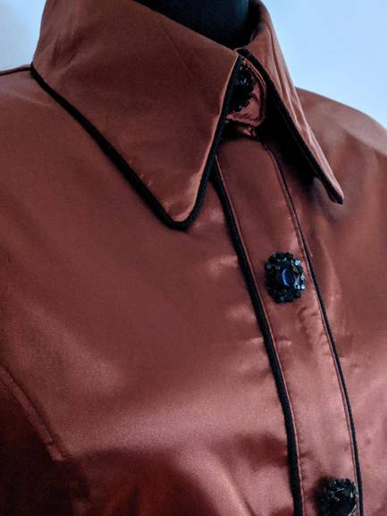 Bronze Satin Hidden Zip Front Fiited Shirt with Black Piping
