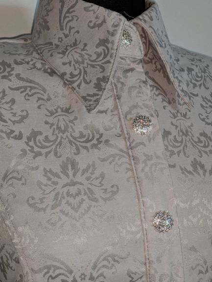 Silver Satin Tapastry Hidden Zip Front Fitted Shirt