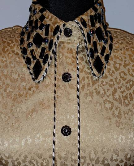 Gold Satin Animal Print Hidden Zip Front Shirt with Piping
