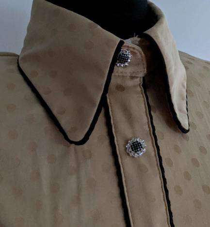 Gold Pokadot Satin Hidden Zip Front  Fitted Shirt with Piping