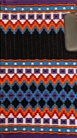 Black, Turquoise, Purple, Orange, Bright Red and White 35x42