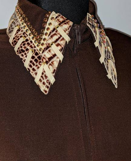Chocolate Brown Fitted Shirt with Leather Trim and Taupe Whip Stitch