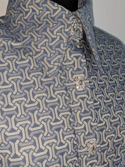 Blue Geometric Hidden Zip Front Fitted Shirt
