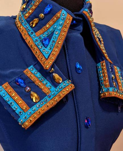Royal Blue Hidden Zip Front Fitted Shirt with Turquoise and Gold Leather