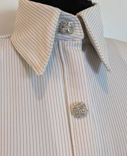 White and Black Heavy Lycra Pinstripe Hidden Zip Front Fitted Shirt