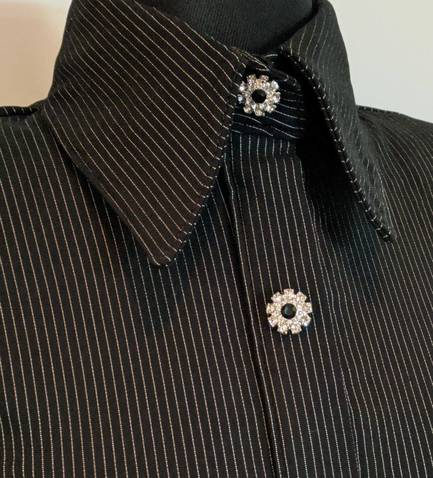 Black and Silver Heavy Lycra Pinstripe Hidden Zip Front Fitted Shirt