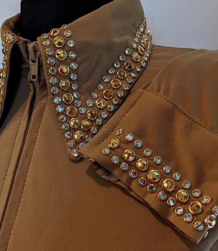 Gold Lycra Fitted Shirt with Gold and Clear Crystals