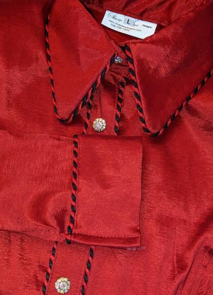 Bright Red Taffeta Satin Hidden Zip Front Fitted Shirt