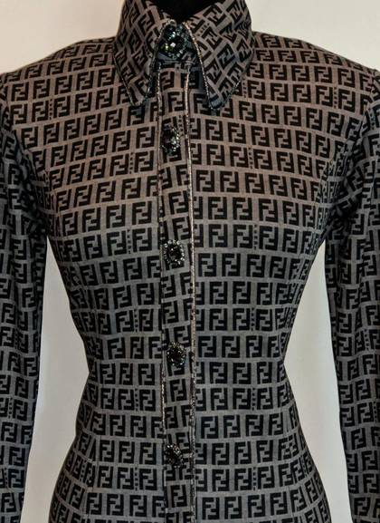 Grey Fendi Hidden Zip Front Fitted Shirt with Piping