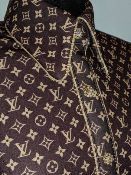 Dark Brown LV Hidden Zip Front Fitted Shirt with Piping