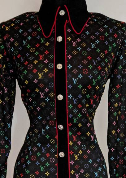 Black Multi Color LV Hidden Zip Front Fitted Shirt with Piping