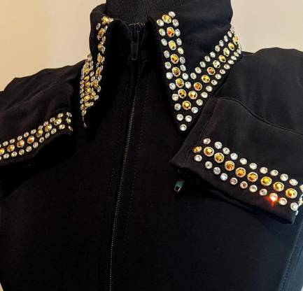 Black Lycra Fitted Shirt with Crystals on the Collar and Sleeves