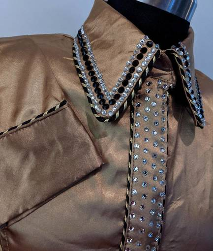 Gold Satin Hidden Zip Front Fitted Shirt with Piping and Crystals