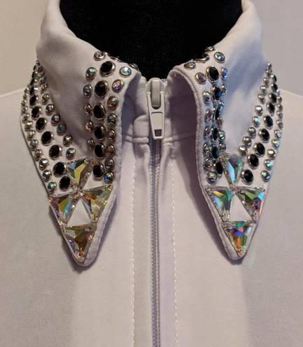 White Lycra Fitted Shirt with Crystals On The Collar and Sleeves