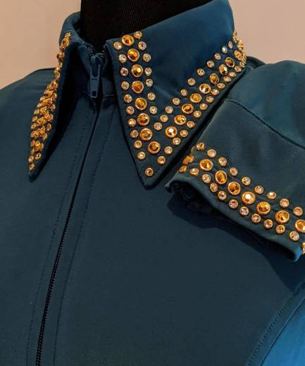 Dark Teal Lycra Fitted Shirt with Crystals On The Collar and Sleeves