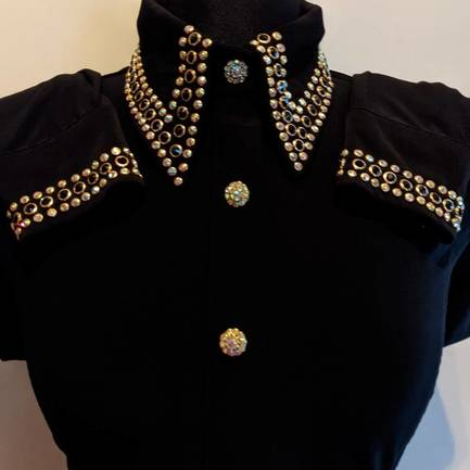 Black Lycra Fitted Hidden Zip Front Shirt with Black and AB Crystals