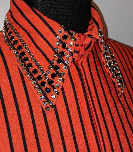 Bright Coral and Black Pinstripe Fitted Shirt with Crystals