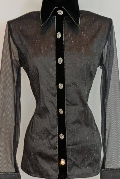 Grey Satin Taffeta Hidden Zip Front Fitted Shirt with Sheer Lace Sleeves