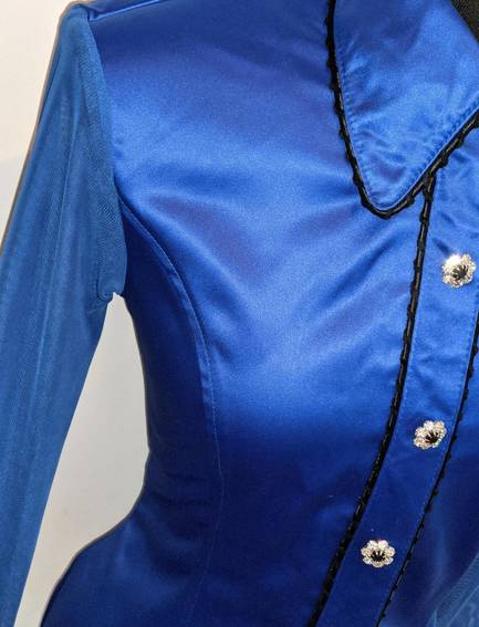 Royal Blue Satin Hidden Zip Front Fitted Shirt with Sheer Lace Sleeves