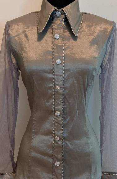 Light Grey Satin Taffeta Hidden Zip Front Fitted Shirt with Sheer Lace Sleeves