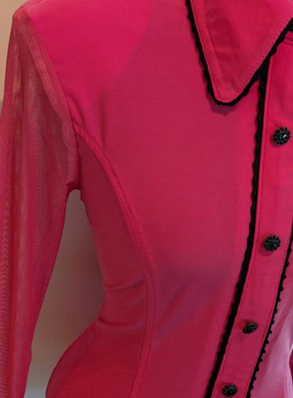 Pink Lycra Hidden Zip Front Fitted Shirt with Sheer Lace Sleeves