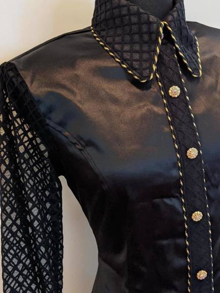 Black satin Hidden Zip Front Fitted Shirt with Sheer Diamond Lace Sleeves