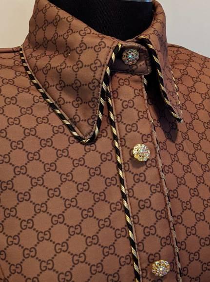 Gucci Print Hidden Zip Front Fitted Shirt