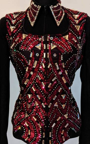 Black and Garnet Red Vest with Matching Shirt
