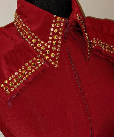 Garnet Red Lycra Fitted Shirt with Embellished Collar and Sleeves