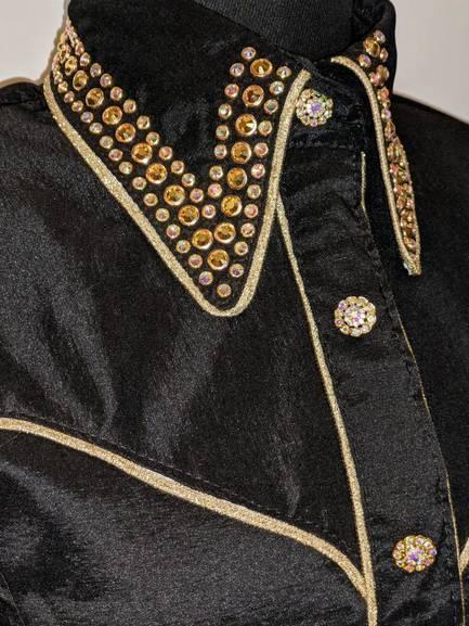 Black Satin Taffetta Hidden Zip Front Shirt with Gold Yoke Piping