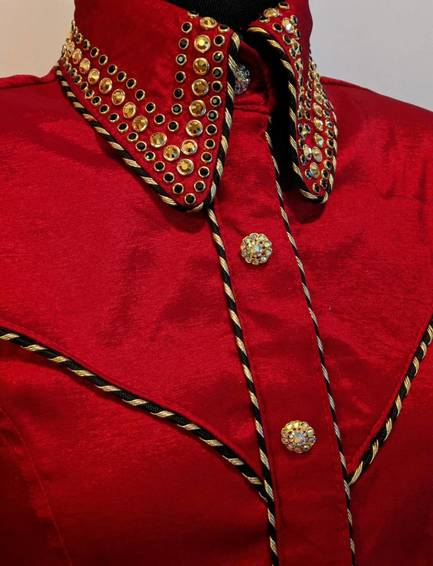 Bright Red Satin Taffetta Hidden Zip Front Shirt with Black and Gold Yoke Piping